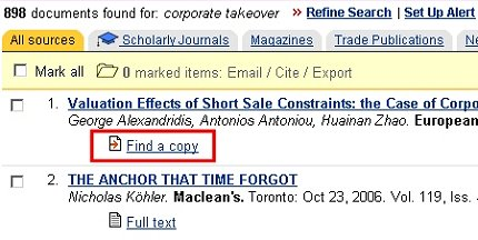 A 'Find a copy' outbound OpenURL link in ABI-INFORM Global