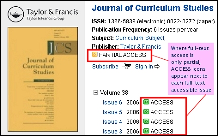 Informaworld ejournal with PARTIAL ACCESS