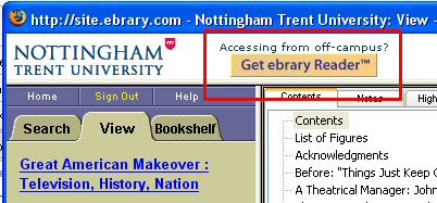 Screencapture of the eBrary platform indicating the new prompt