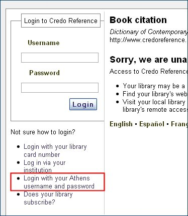 Credo Reference login screen with Athens login link highlighted