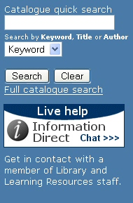 LLR web site Library Catalogue search widget
