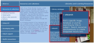 LLR web site - Resource and Collections section showing principal access route to eSearch