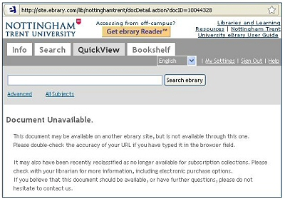 The 'Document Unavailable' prompt on the eBrary eBook platform