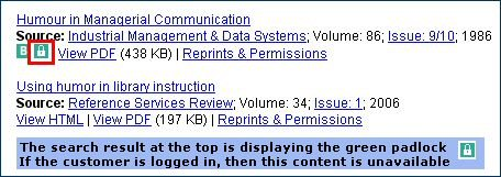 Emerald results lists showing 'padlocked' full-text content