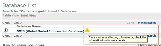Service issue icon in eSearch