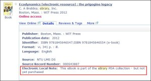 An eBrary PDA title in Library OneSearch