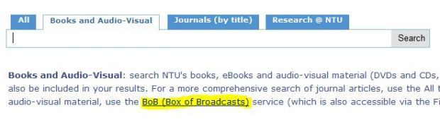 The BoB link in the 'Books and Audio-Visual' tab