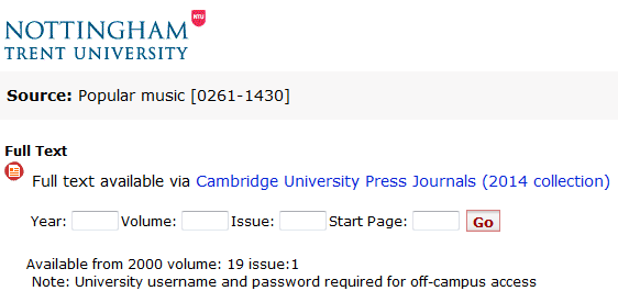Cambridge University Press - additional full-text ejournal titles
