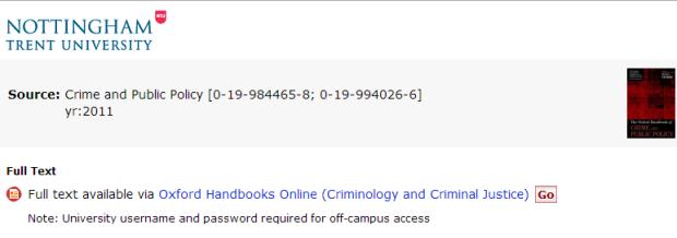 Oxford Handbooks Online -  SFX title entry