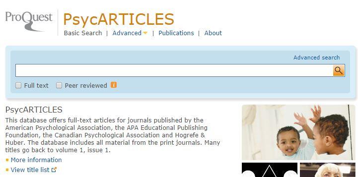 PsycARTICLES - ProQuest platform