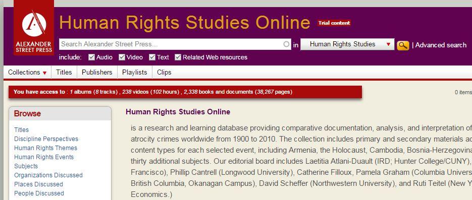Alexander Press - Human Rights Studies Online