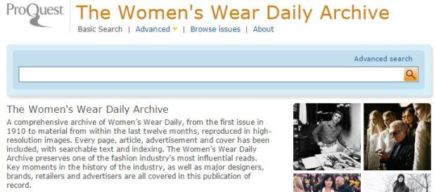 A comprehensive archive of Women's Wear Daily, from the first issue in 1910 to material from within the last twelve months, reproduced in high-resolution images. Every page, article, advertisement and cover has been included, with searchable text and indexing. The Women's Wear Daily Archive preserves key moments in the history of the industry, as well as the story of major designers, brands, retailers and advertisers.