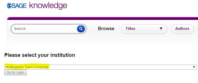 Sage Knowledge - eBook - 'Select institution'