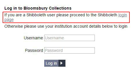 Bloomsbury Collections - Shibboleth option