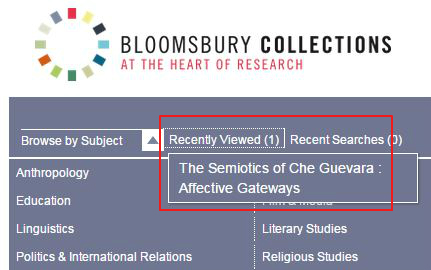Bloomsbury Collections - Recently Viewed link