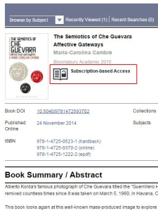 Bloomsbury Collections - Access to a subscription title