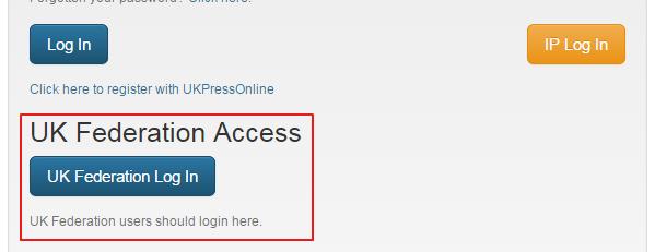 UK Press Online - new Shibboleth login screen