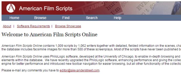 American Film Scripts Online