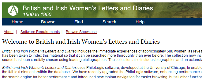 British and Irish Women's Letters and Diaries (1500-1950)