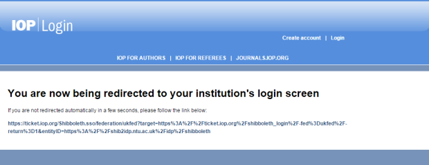 OP Science - eBooks - Shibboleth login - first notification