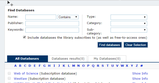 Find Databases - Library OneSearch