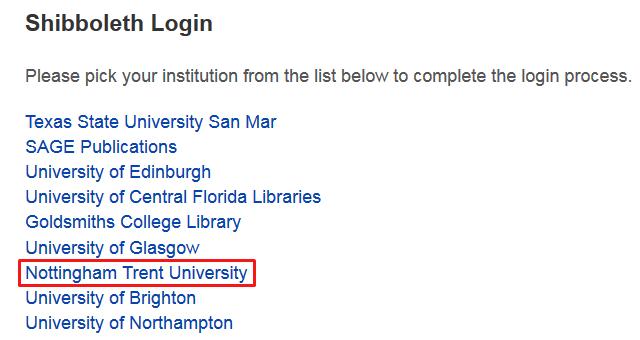 Sage Knowledge eBook platform - off-campus login - March 2016 - step three
