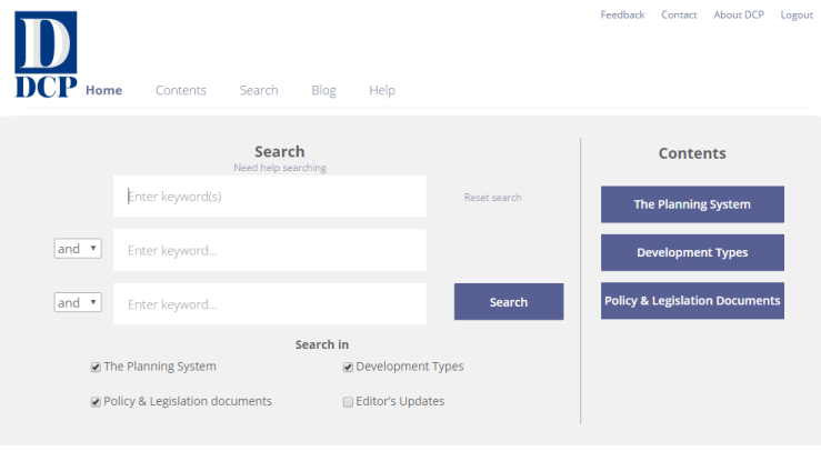 The homepage search box of DCP Online