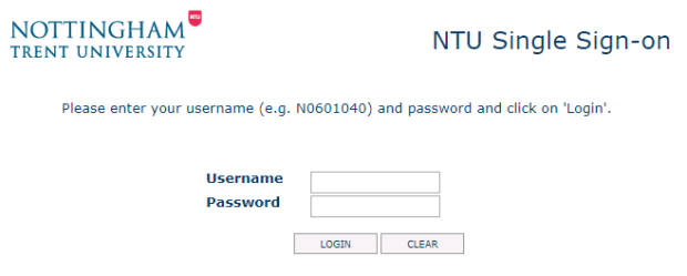 NTU Single Sign-on screen