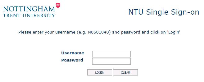 NTU Single Sign-on screen