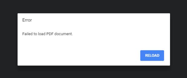 Chrome PDF error message