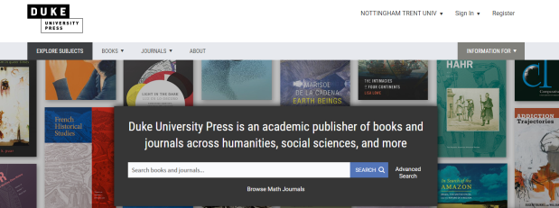 Duke University Press homepage