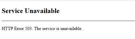 HTTP error 503