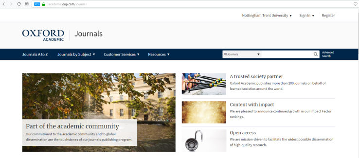 Oxford University Press ejournals home page