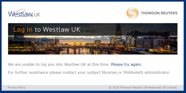 Westlaw - Shibboleth error