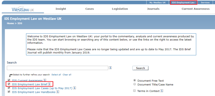 IDS Employment Law option in Westlaw