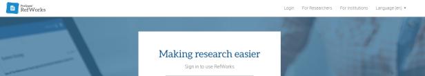 Refworks homepage