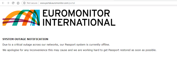 Passport outage notice page