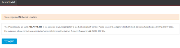 LexisLibrary news section error page - unrecognized network location
