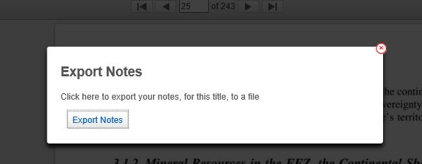VLeBooks Export Notes pop-up