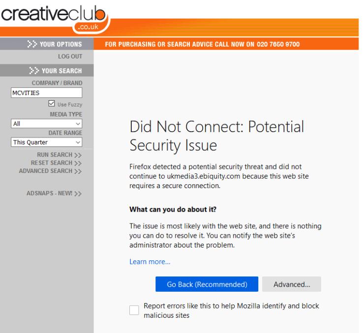 Download error page