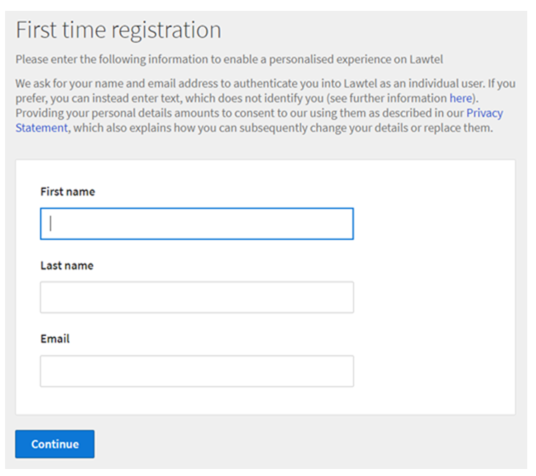 The Lawtel one-time registration form
