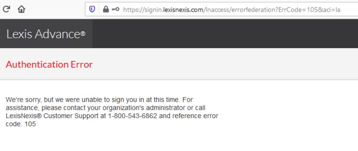 Authentication error message