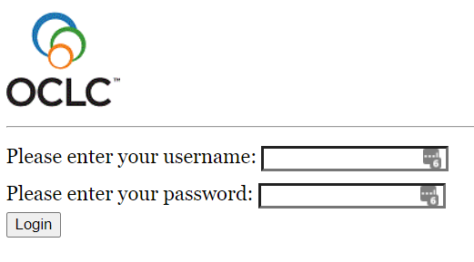 OCLC log in screen