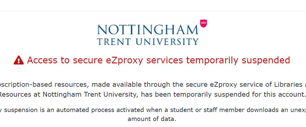 Screenshot of e-resource access block message