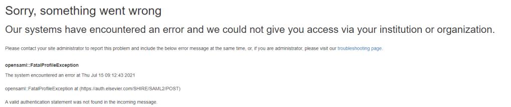 Elsevier error page