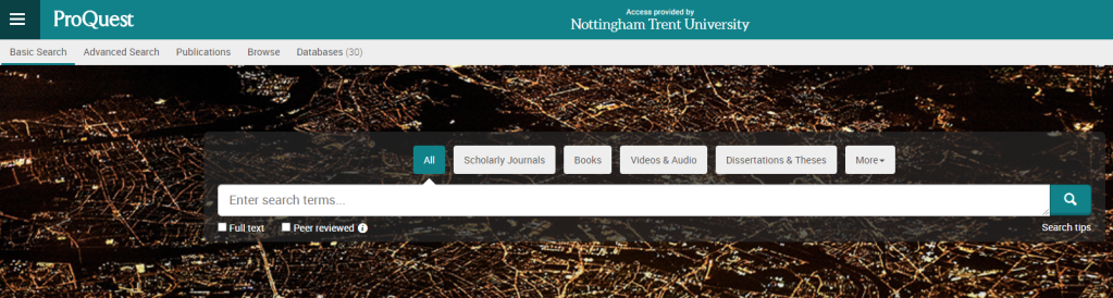 ProQuest search page